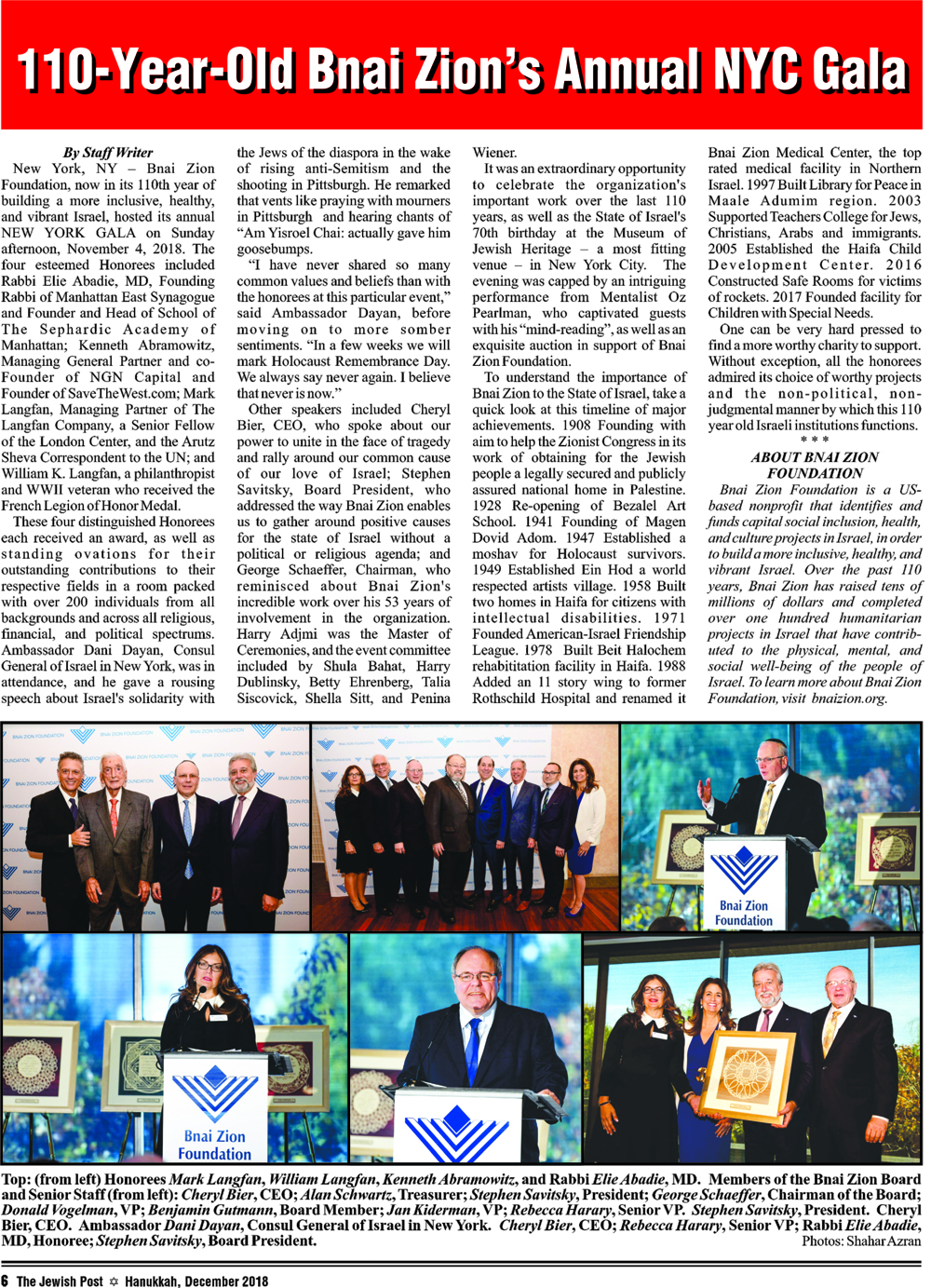 110-Year-Old Bnai Zion's Annual NYC Gala