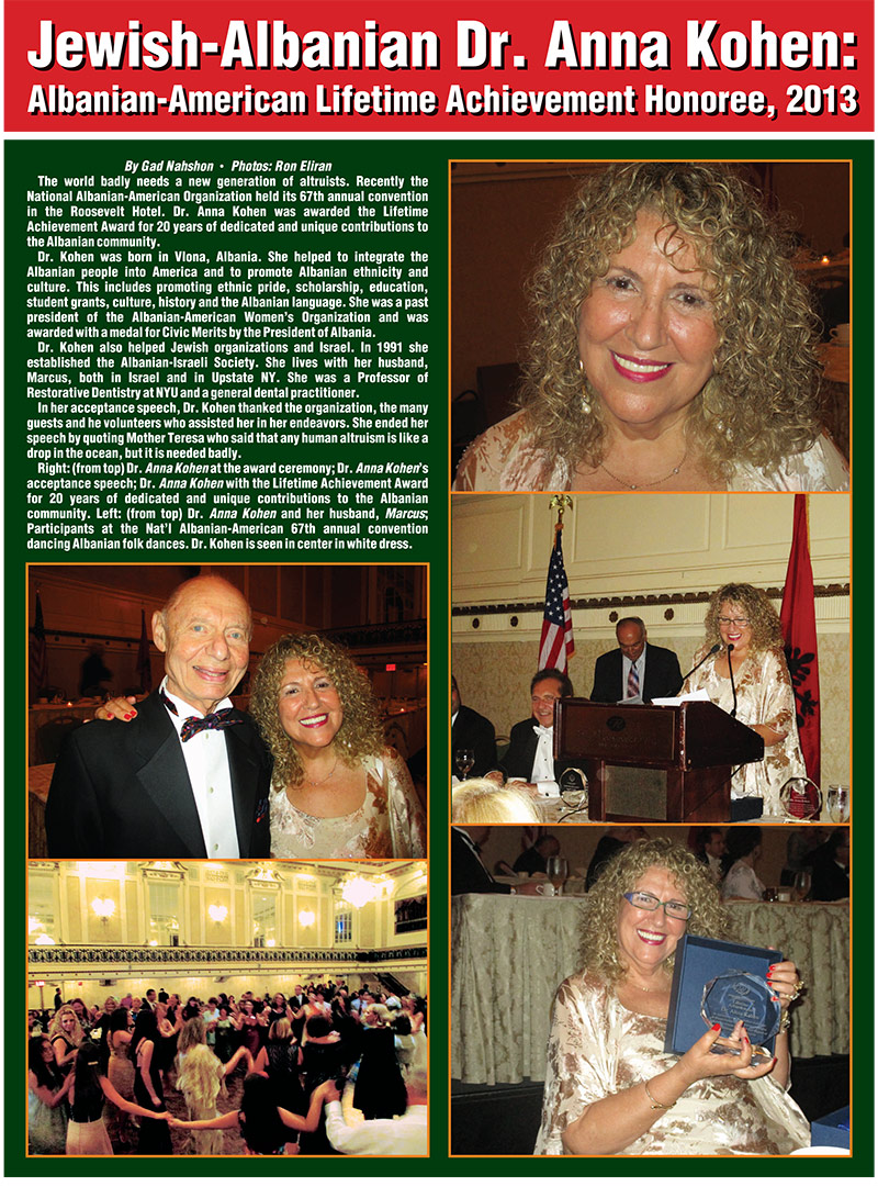 Jewish-Albanian Dr. Anna Kohen: Albanian-American Lifetime Achievement Honoree, 2013