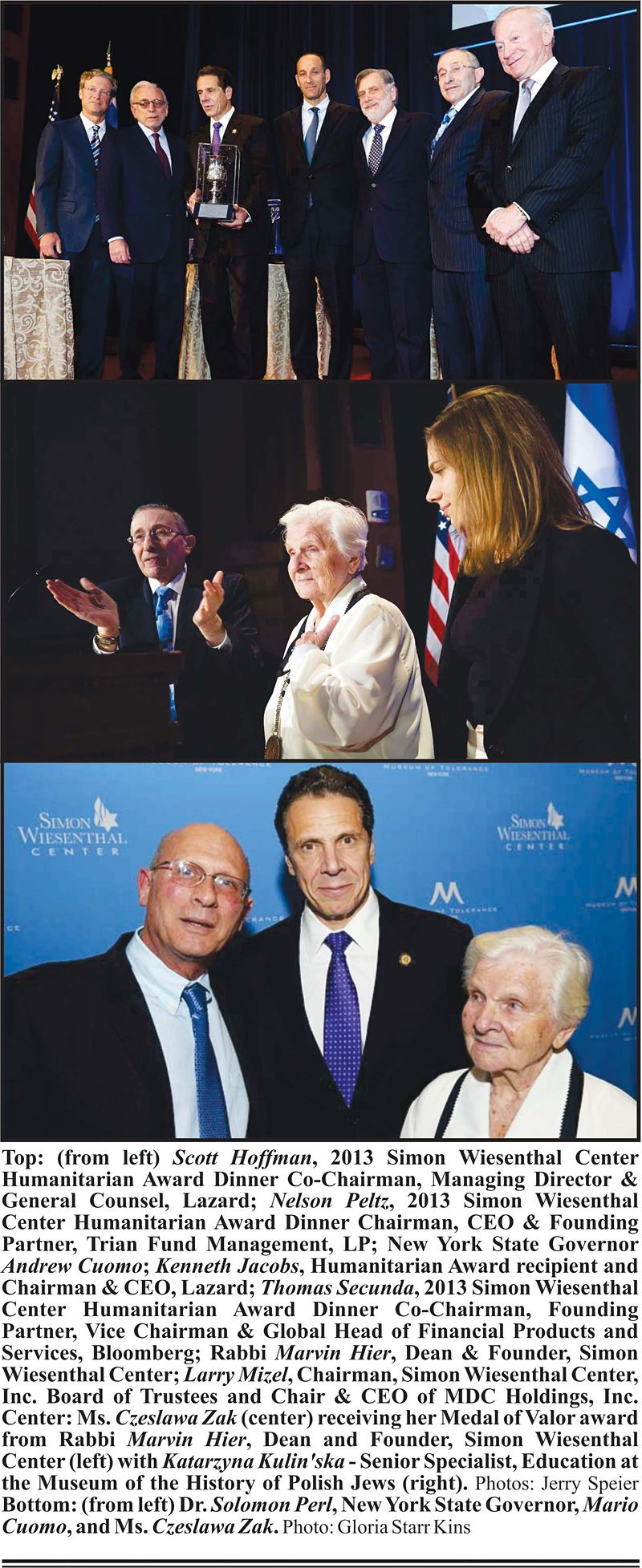 Simon Wiesenthal Center Honors NYS Gov. Mario Cuomo, Kenneth Jacobs, Czeslawa Zak and William Perl