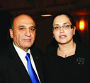 Israel's Road Safety Lieutenant General Shaul Mofaz with Mrs. Galit Ram, Wife of fallen soldier Elad Ram