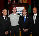 FIDF National Director Brig. Gen. (Res.) Yehiel Gozal , Major Avinoam Stolovitch, Israel's Deputy Prime Minister and Minister of transportation and Road Safety Lieutenant General Shaul Mofaz and Dinner Chairman Mr. Benny Shabtai