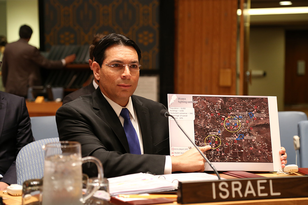 Israel's UN Ambassador, Danon, Presents New Intelligence About Hezbollah to Security Council