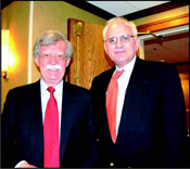 Former US Ambassador to the UN, John Bolton, (left) with Jewish Post Publisher, Henry Lavy. Photo: Gloria Starr Kins