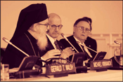 Image of Archbishop Demetrios, Primate of the Greek Orthodox Church in America (left) at a conference with Jewish leaders. Photo: Julian Voloj