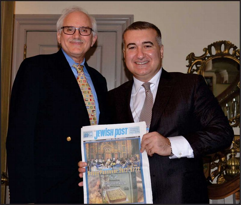 H.E. Elin Suleymanov (ES), Ambassador of Azerbaijan to the US (right) with Henry Levy (HL), Editor and Publisher of the Jewish Post.    Photo: Gloria Star Kins