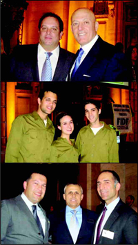 Top: (from left) Andrew Heiberger, Honoree; Ofer Yardeni, Chairman of the FIDF Real Estate Division. Center: Soldiers of the IDF. Bottom: (from left) Danny Hakimian; FIDF National Director, Maj.Gen.(Res.), Yitzhak (Jerry) Gershon; Michael Livian.