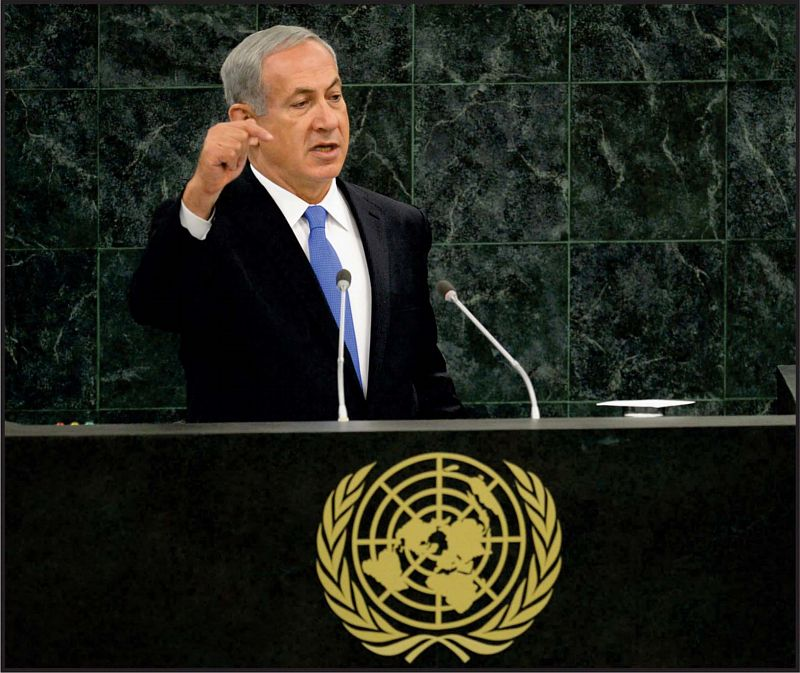 Israeli Prime Minister, Benjamin Netanyahu, addresses United Nations General Assembly. Netanyahu said that if forced, Israel would defend itself by itself. He emphasized that he does not believe Iranian president, Rohani and urged sanctions on Iran fortify. Photo: Kobi Gideon/GPO for Israel Sun