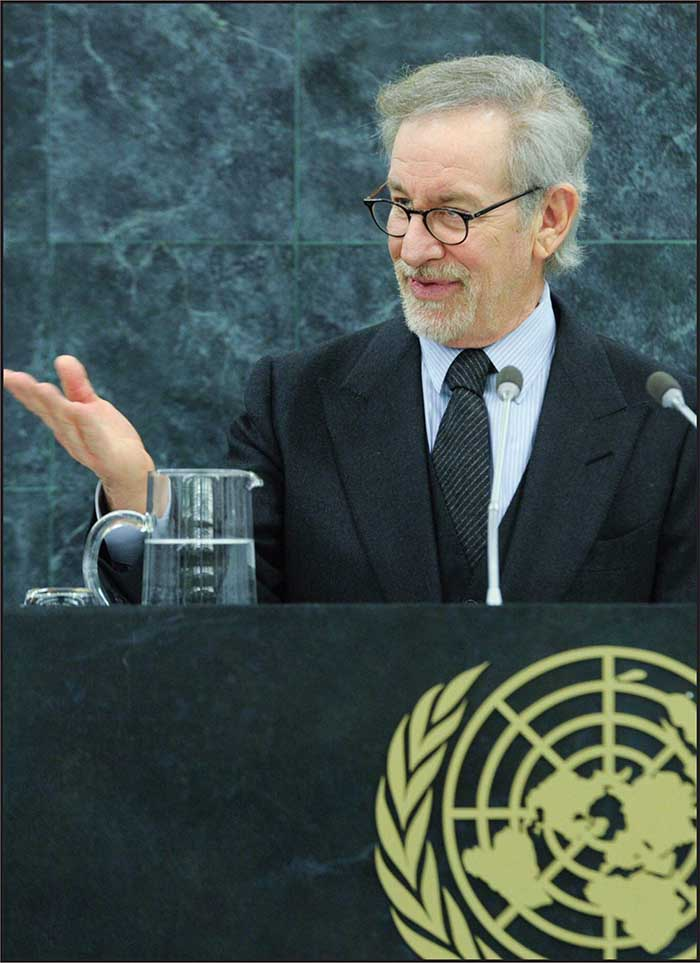 Steven Spielberg, Schindler�s List�s producer, addressing the UN on UN Holocaust Remembrance Day.   UN Photo
