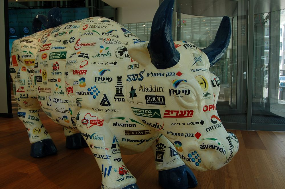 A bull inscribed with the names of TASE-listed companies projects confidence in Israel's economy (Photos:  James S. Galfund)