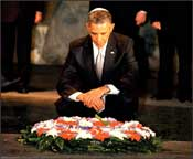 United States President, Barack Obama, lays a wreath in the Hall of Remembrance at Yad Vashem in memory of the six million Jews murdered in the Holocaust.     Photo: Isaac Harari/Yad Vashem for Israel Sun