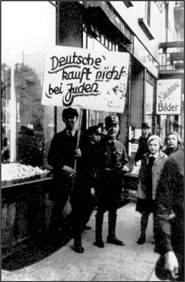 Nazi boycott of a Jewish store in Berlin during the 1930�s