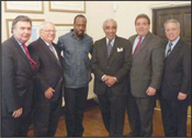 From left: Rabbi Joseph Potasnik, VP, NY Board of Rabbis; Joseph Hess, VP Gov�t Relations for JNF; Wyclef Jean; Congressman Charles Rangel, Russell Robinson, CEO, JNF; and Rabbi Eric Lankin, Chief of Institutional Advancement and Education for JNF.