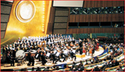 The Nurnberg, Germany Philharmonic Orchestra, the Bayreuth Zamir Choir and the Jerusalem Chamber Choir perform in the UN General Assembly Hall, under the direction of Maestro Isaak Tavior.  General Assembly Hall Concert Photo: Courtesy of the UN  People's photos: Gloria Starr Kins