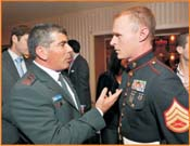 Lt. Gen. Ashkenazi, with US Marine, Sgt. Todd Bowers, who returned from Afghanistan and donated $1,000 in memory of Liran Banai. <br /> Photos by Gloria Starr Kins, Shahar Azran &amp; The FIDF