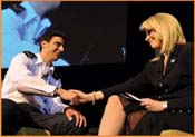 Monica Crowley, radio talk show host and with elite commando unit Sgt,. Tal Shabbat, who survived being shot in the head in Gaza. <br /> Photos by Gloria Starr Kins, Shahar Azran &amp; The FIDF