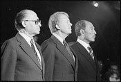 Israeli Prime Minister Menachem Began, US President Jimmy Carter and Egyptian President Anwar Sadat at Camp David on September 7, 1978. Photo courtesy of the National Archive and Records Administration.