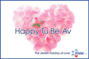 A greeting card for Tu B'Av from JDate, an online dating service.