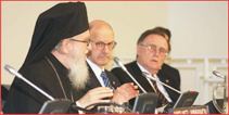 From left:  Archbishop Demetrios, Primate of the Greek Orthodox Church in America; Daniel S. Mariaschin, executive vice president of B�nai B�rith International; and Allan J. Jacobs, B�nai B�rith chairman of the executive.   Photo: Julian Voloj