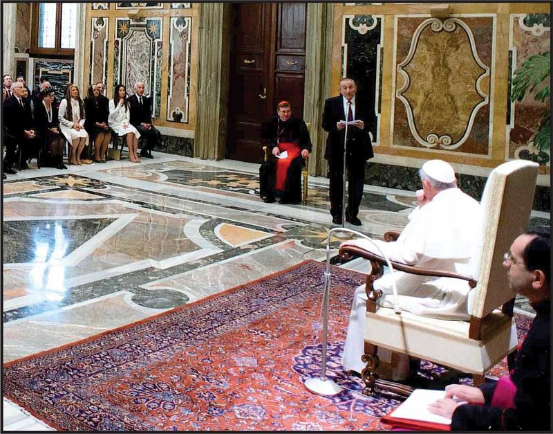 Rabbi Marvin Hier, Dean and Founder of the Jewish Human Rights NGO, addresses Pope Francis and a private audience at the Vatican.