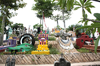 Xcaret Cemetery: The colorful tombstones at Xcaret, the