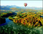 View of Asheville's breathtaking fall foliage beautiful scenery taken from a hot air balloon ride. Photo Courtesy of the Asheville Convention and Visitors Bureau