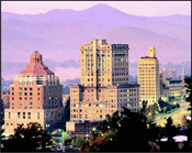 The mountains showcase Asheville's skyline. Photo Courtesy of the Asheville Convention and Visitors Bureau