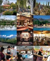 From left:(top row) Canyon Ranch Clubhouse; Cycling at the main entrance; Desert hiking; (2nd row) Daytime yoga; Spa Suite; The T-Pool; (3rd row) View of Santa Catalina Mountains from Canyon Ranch; Clubhouse; Yoga Dome;(bottom) Demo Kitchen; Aquatic Center; Drumming Class;