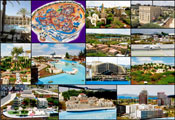 (From left) Top row: The Dan Jerusalem Hotel; Mini Israel Park�s site plan; Mini Israel, The Old City of Jerusalem, replica; Mini Israel, King David Hotel, Jerusalem, replica. Center row: Mini Israel, Mt. Carmel, Haifa, replica; Mini Israel, Haifa port, replica. 4 central photos on right - Top left: Mini Israel Park, general view; Top right: Mini Israel, Ben Gurion Airport, replica; Bottom left: Mini Israel, Eilat, replica; Bottom right: Mini Israel, Old City of Safed, replica. Bottom row: Mini Israel, Bau Hause style in Tel Aviv, replica; Mini Israel, Old Jaffa, replica; Mini Israel, the Dan Tel Aviv Hotel, replica. Photos: Kanan Abramson