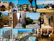 (From left) Top: Entrance to Old Jaffa; Center square of Old Jaffa; View of Tel Aviv and its beach from the archeological excavations hill in Old Jaffa; Center: Streets and alleys with art galleries and artists� residences in Old Jaffa; Bottom: The Dan Panorama Tel Aviv Hotel; The Tel Aviv beach promenade view to north. At left is the former Dolphinarium discotheque, where 21 Israeli youth were killed by Arab terrorist on June 1st, 2001; At right is Hassan Beck Mosque, from which Arab snipers killed many Israelis on the streets of neighboring Tel Aviv in 1948; The Meatos Kosher Gourmet Grill-Bar, Tel Aviv. Photos: Kanan Abramson