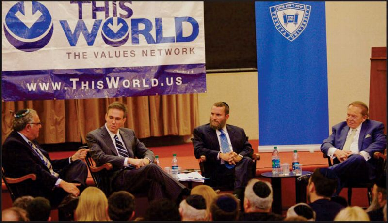 From left: Yeshiva University President, Bret Stephens, Wall Street Journal columnist and Pulitzer Prize winner, Richard Joel, Rabbi Shmuley Boteach, and Jewish philanthropist, Sheldon Adelson,  Offered Solutions to Challenges of Jewish Survival. Photo: Omar Flores