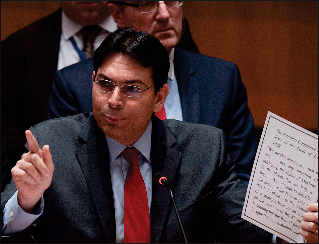 Israel's UN Ambassador, Danny Danon, delivers a speech at the UN. Photo: Kim Haughton